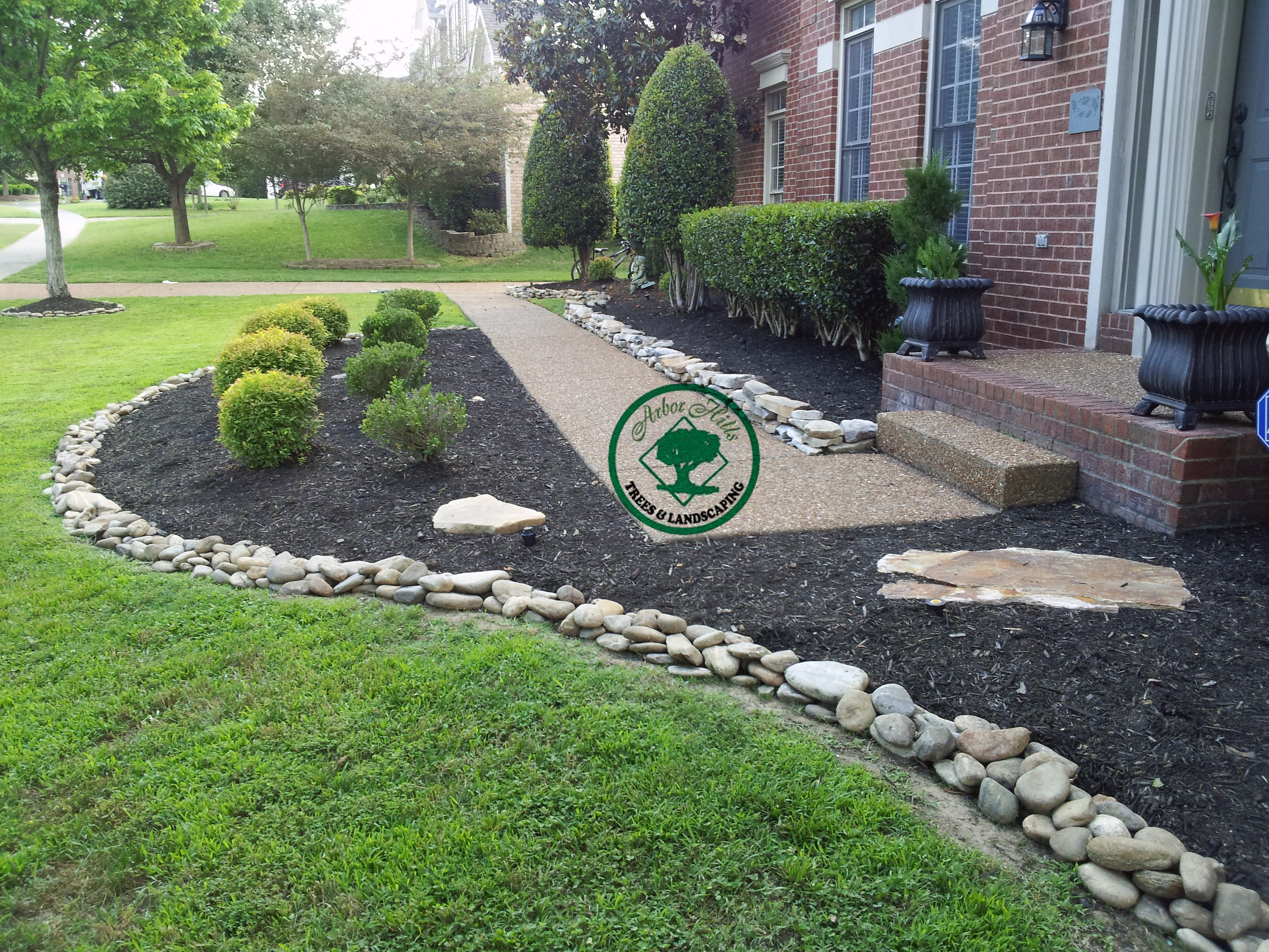 River Rock Vs Mulch Arbor Hills Trees Landscaping