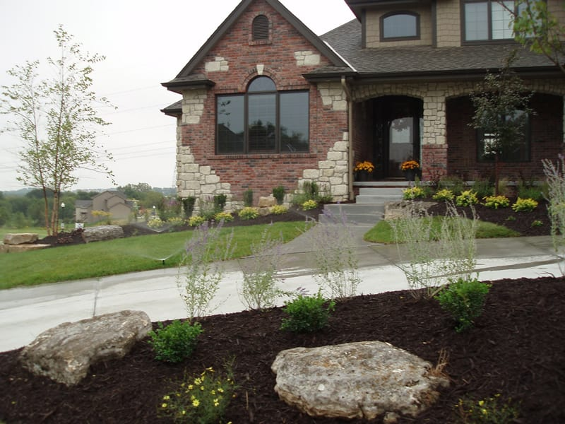 Mulch landscaping and Rocks Arbor Hills Landscaping