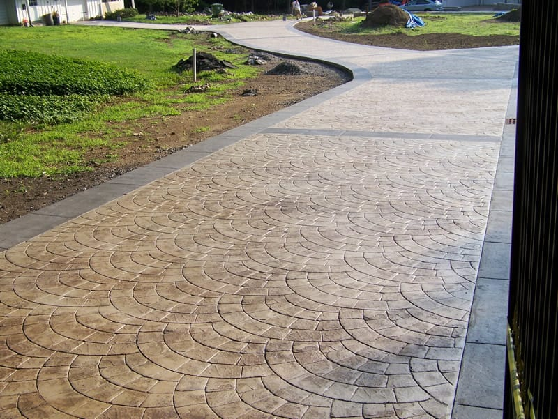 stamped colored concrete landscaping arbor hills omaha