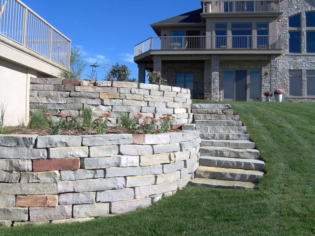 Landscaping Natural Stone Walls Omaha Landscaping